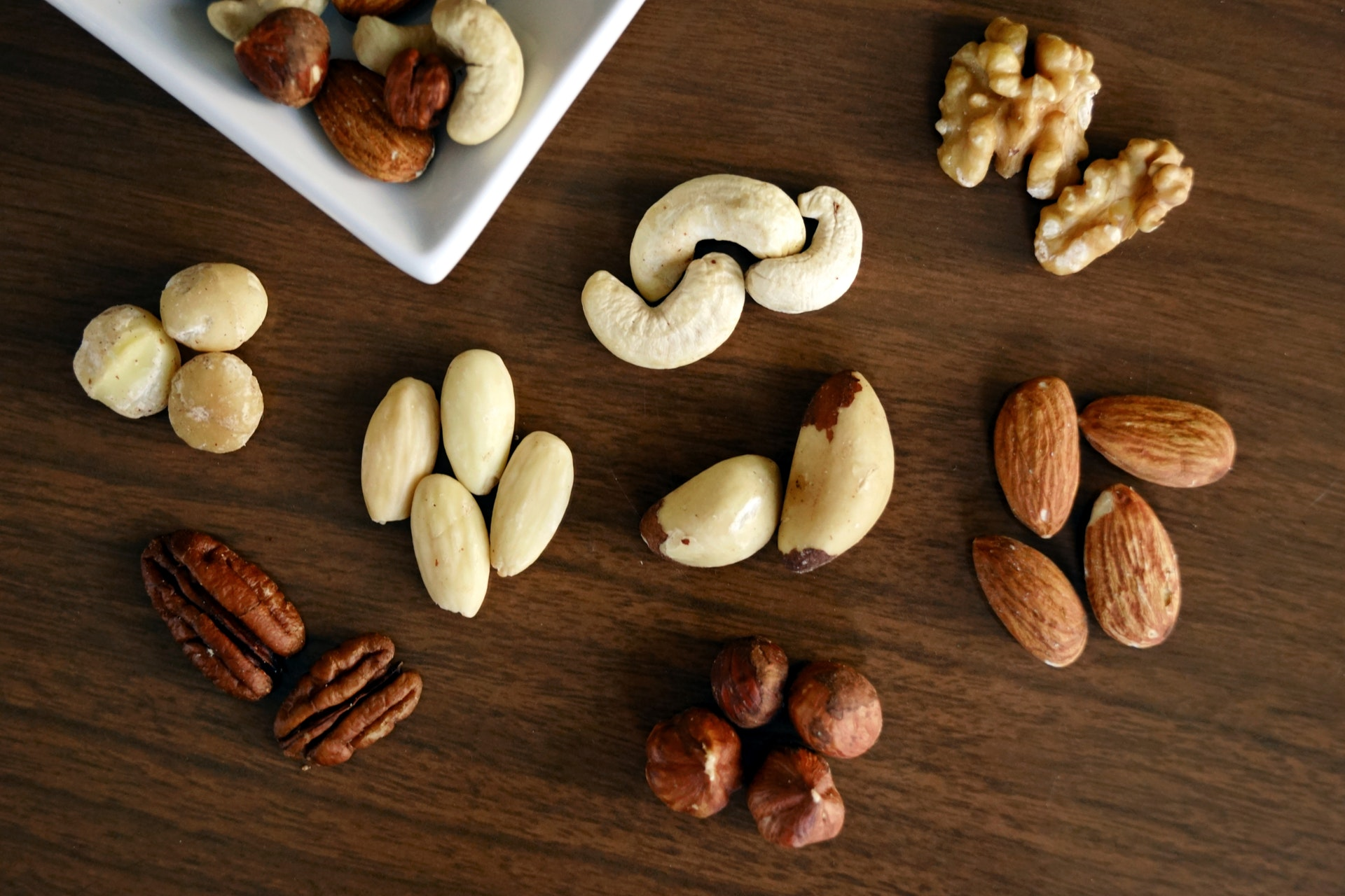 groups of nuts on a table